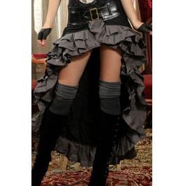 Black Grey Vex Steampunk Skirt With Adjustable Buckle Enclosure