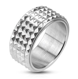 Spiked Spinner Mens Ring Stainless Steel