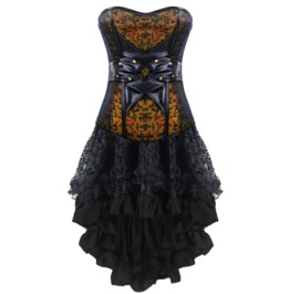 Vintage Faux Leather Steampunk Overbust Corset Dress