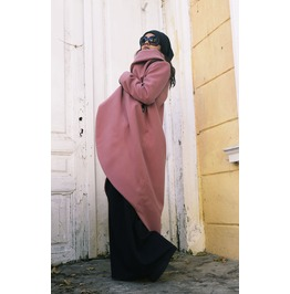 Ashes Of Roses Cashmere Coat / Asymmetrical Long Jacket /Zipper Winter Coat