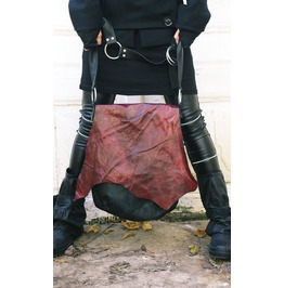 Genuine Leather Bag / Asymmetrical Maxi Bag / Black And Red Large Tote