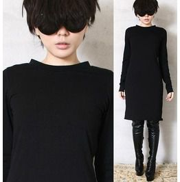 Cotton Punk Long Sleeve Top T Shirt Tunic Casual Pajama Style Dress Black