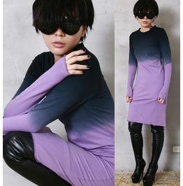 Cotton Punk Dip Tie Dye Gradient Long Sleeve T Shirt Pjs Dress Tunic Purple