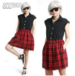 Cutie Punk Sweatshirt Red Tartan Flannel Button Sleeveless One Piece Dress