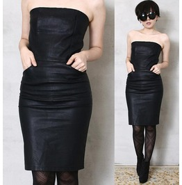 Runway Formal Punk Rock Strapless Tube Leather Stretch Pencil Dress Pocket