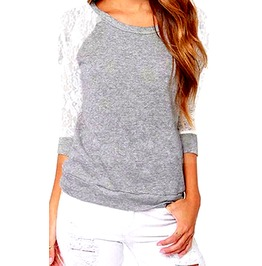 Awesome + Unique Design! Grey Long White Lace Sleeve Design Top 10/12