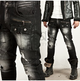 Distressed Zipper Accent Squared Cargo Pocket Washing Black Biker Jeans
