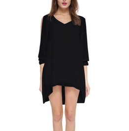 Cool Black Mini Dress Or Top With Long Sleeves Uk 6/8