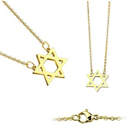Star Of David Pendant 316 L Stainless Steel Chain Necklace