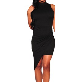 Cool Black Long One Sided Mini Dress Design Medium/Large