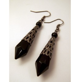 Gothic Filagree Black Icicle Drop Victorian Earrings
