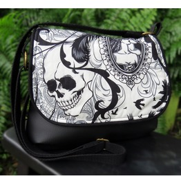 Black And White Goth, Skull And Antique Broach Kelsi Ii Cross Body Purse Bl