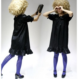 Vegan Pleather Faux Leather Punk Gothic Lolita Babydoll Puff Sleeve Dress