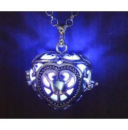 Blue Glowing Orb Pendant Necklace Heart Locket