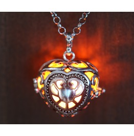 Pendant Necklace Heart Locket With Orange Glowing Orb