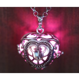 Pink Glowing Orb Pendant Necklace Heart Locket