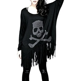 Awesome Long Black Tassel Skull And Cross Bones Top / Dress Size Small/Med