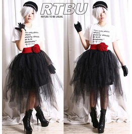 Punk Goth Puffy Swan Ballerina Irregular Broom Tu Tu Mesh Tulle Calf Skirt