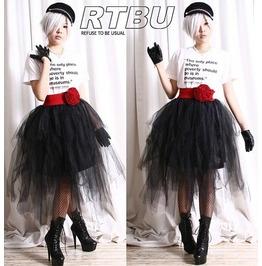 Punk Goth Puffy Swan Ballerina Irregular Broom Tu Tu Mesh Tulle Calf Skirt
