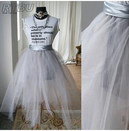 Fairy Ballerina Irregular Translucent Tu Tu Mesh Tulle Calf Skirt Light Gray