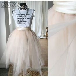Fairy Ballerina Irregular Translucent Tu Tu Mesh Tulle Calf Skirt Champagne