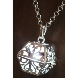 White Glowing Orb Pendant Necklace Box Locket