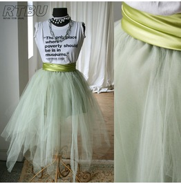 Fairy Ballerina Irregular Translucent Tu Tu Mesh Tulle Calf Skirt Green