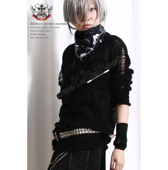 09707fb1b33af Punk Rock Ripped Broken Ladder Hole Acrylic Mohair Like Sweater Knit Jumper