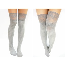 Thigh Lace Knit Knee High Socks Boot Socks Light Grey