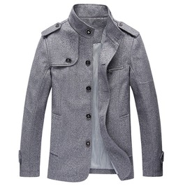 Mens Stand Collar Retro Woolen Coat Overcoat