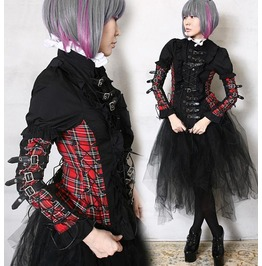 Industrial Leather Strap Egl Elagent Gothic Red Tartan Punk Armor Corset