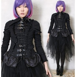 Goth Punk Metal Robot Doll Buckle Strap D Ring Corset Cincher Laceup Blouse