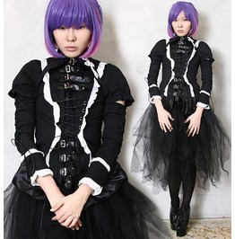 Black Gothic Lolita Punk Aristocra Egl Gear Corset Blouse Shirt Cosplay