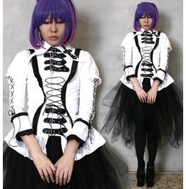 Aristocrat Gothic Victorian Lolita Punk Emo Larp Buckle Strap Corset Shirt