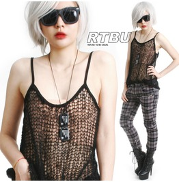 Goth Punk See Through Acrylic Mohair Knit Crochet Fish Net Tatoo Cami Tank