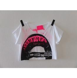 God Save The Queen Diy Punk Rock Crop Top Pop Art T Shirt, One Size M
