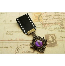 Bronze Steampunk Dragon's Eye Medal Purple Eye