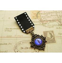 Bronze Steampunk Dragon's Eye Medal Blue Eye