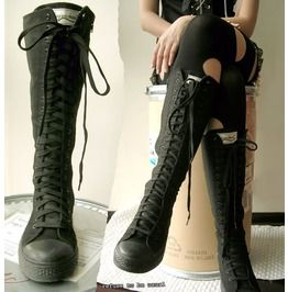 Punk Goth 20 Hole Knee High Canvas Sneaker Black Boots Mono Black