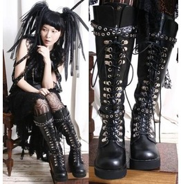Handmade Japan Gothic Visual Kei Industrial D Ring Vegan Knee High Boots