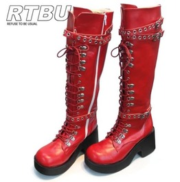 Handmade Red Gothic Visual Kei Punk Industrial D Ring Vegan Knee High Boots
