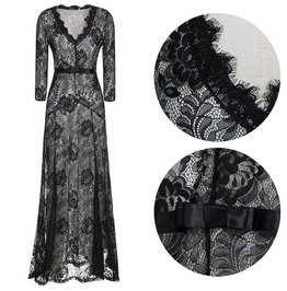 Women's V Neck Floral Lace Party Dress Bridesmaid Maxi Dress
