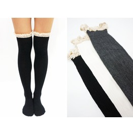 Comfy Lace Trim Knit Thigh High Boot Socks Black