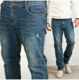 Simple & Basic Distressed Blue Denim Jeans 179