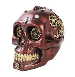 Wooden Steampunk Skull Gear Head