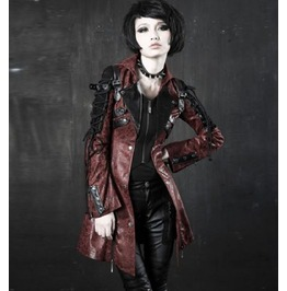 Punk Gothic Red Faux Leather Steampunk Jacket Coat
