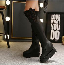 Platform Lace Side Zipper Knee High Women's Boots 11522047tbb