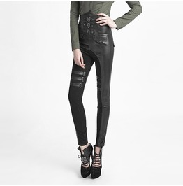 Steampunk Women's Lace Up Buckles High Waisted Faux Leather Leggings B233
