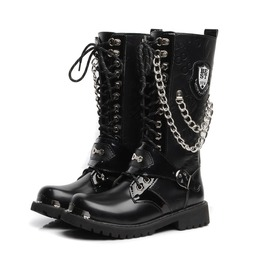 Chain Stud Badge Men Lace Up Martin Boots Men Army Boots