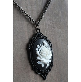 White Rose On Black Cameo Necklace Ornate Victorian Setting